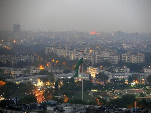 Aerial view of Connaught Place in New Delhi.