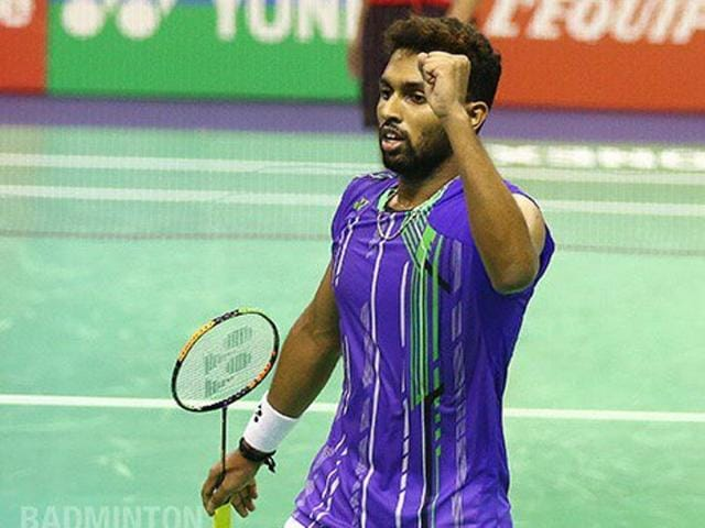 HS Prannoy raises a fist in celebration after defeating Lin Dan in the first round of the French Open Super Series.