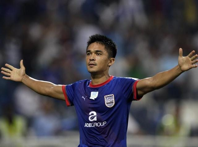 Mumbai City FC's Sunil Chhetri celebrates after scoring against Delhi Dynamos during the ISL 2015 match at DY Patil Stadium in Navi Mumbai, on October 21, 2015.