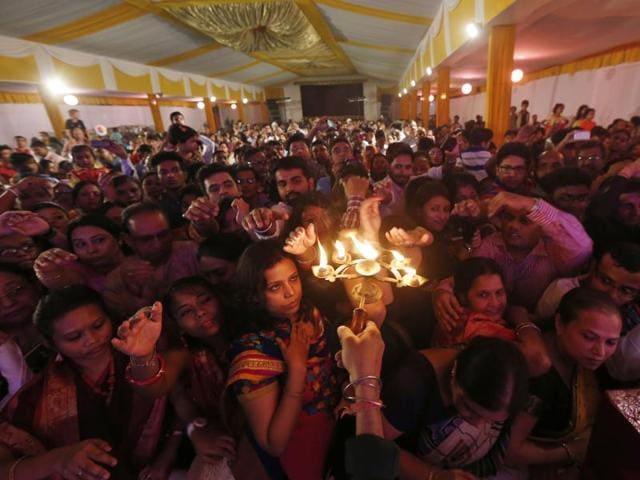 Durga Puja celebration at Kali-Bari, in New Delhi, India, on Wednesday.