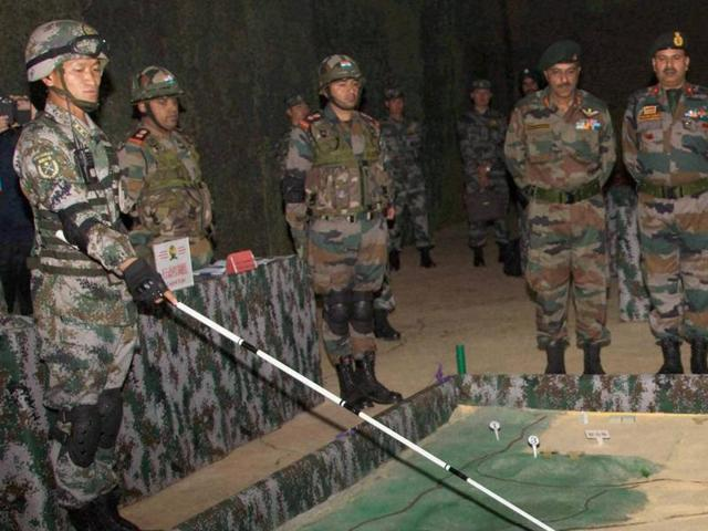 Indian and Chinese troops during the 'Hand in Hand' exercise in Kunming, China, on Wednesday.