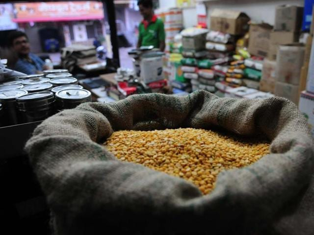 Tur dal on sale at a shop in Bhopal on Thursday.
