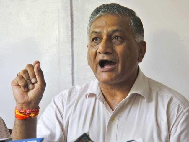 Former army chief and minister of state for external affairs, Gen VK Singh.(HT File Photo)