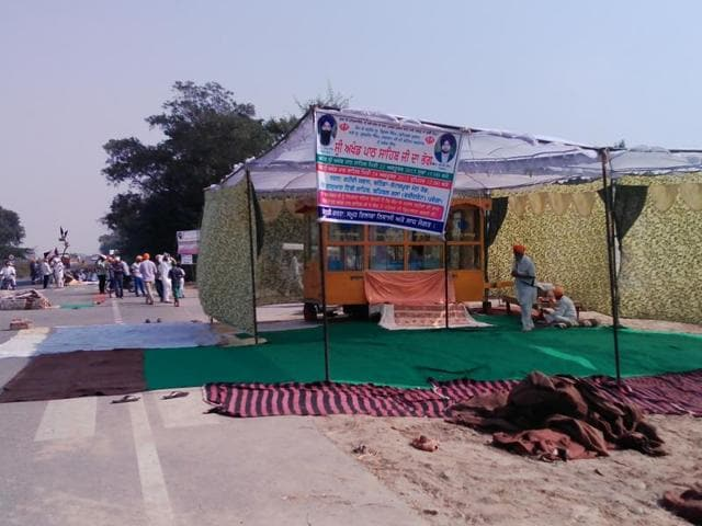 The 'akhand paath' site at Behbal Kalan in Faridkot district on Thursday.