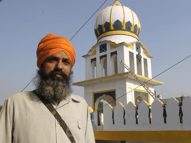 Baptised Sikh Gopal Singh from Bihar at the gurdwara in PGI.