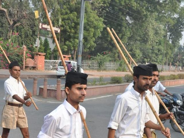 Vyapam whistleblower Ashish Chaturvedi (centre) attends RSS path-sanchalan in Gwalior on Thursday. He deposed before CBI in Gwalior on Friday.