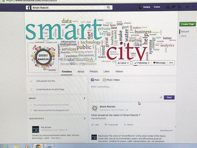 A page created by the Ranchi Municipal Corporation to seek public opinion on the proposed Smart City in Ranchi.