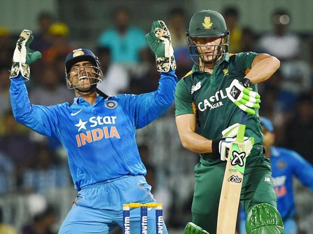 Chennai: Indian captain M S Dhoni celebrates after taking the catch off South African batsman Faf du Plessis during the fourth ODI cricket match at M A Chidambaram Stadium, Chepauk in Chennai on Thursday.