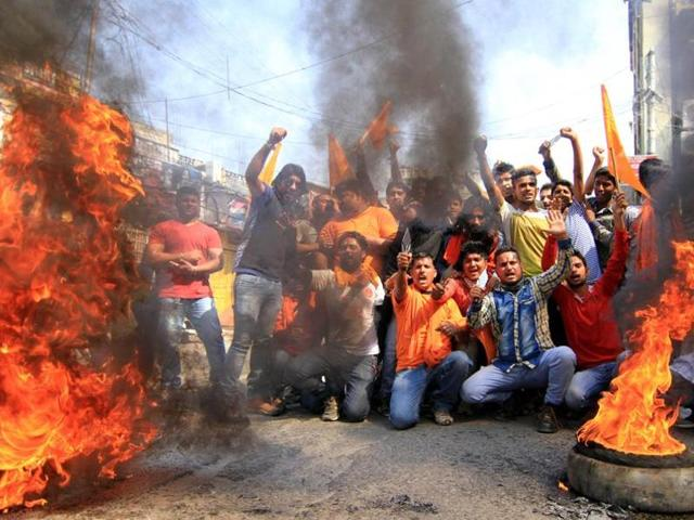 Bajrang Dal activists agitate in Jammu. The spectacle of intolerance has become a daily sight in Indian society now.