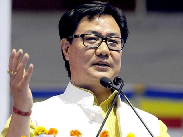 Minister of state for home affairs, Kiren Rijiju, at an event in New Delhi. Rijiju has been under fire for his comments on North Indians enjoy breaking rules.