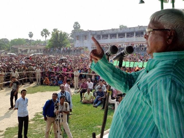 RJD chief Lalu Prasad addressing an election rally in Bihar.