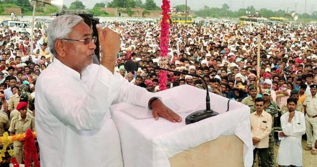 Bihar Chief Minister Nitish Kumar addressing an election rally in Dumraon on Sunday. His government's success has unleashed aspirations that may come to haunt him.