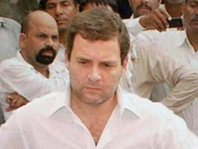 Congress vice-president Rahul Gandhi during a visit to Sunpedh village where a Dalit family's house was set on fire.