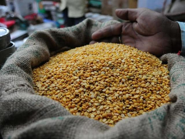 Tur dal on sale at a shop in Bhopal.