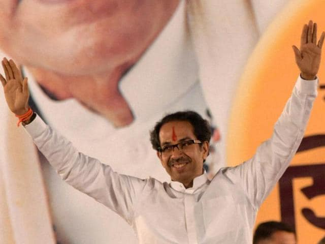 Shiv Sena president Uddhav Thackeray addressing a crowd during the Dussehra rally in Mumbai .