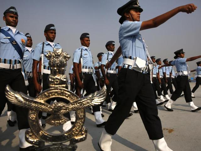 Indian Air Force women officers lead a marching contingent during the Indian Air Force Day parade at Hindon Air Force base near New Delhi, India, Thursday, Oct. 8, 2015. Defence ministry on Saturday, October24, approved the induction of women pilots into the fighter wing of IAF.