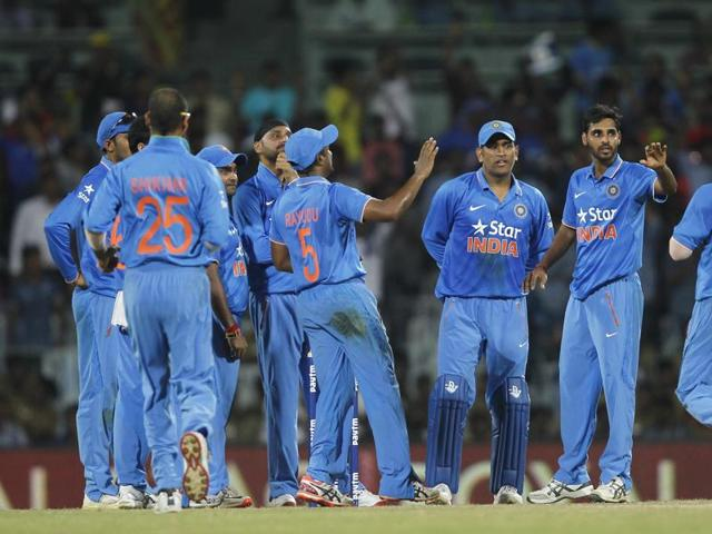 Bhuvneshwar Kumar (2nd R) celebrates after dismissing South Africa's AB de Villiers (unseen) during their fourth one-day ODI in Chennai. Kumar's bowling was a concern, but he has done well in the series.