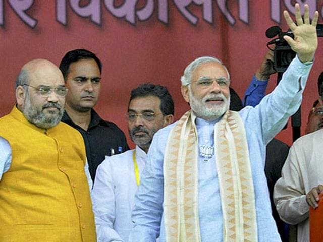 Prime Minister Narendra Modi with BJP president Amit Shah at Parivartan rally in Gaya, Bihar. (PTI File Photo)