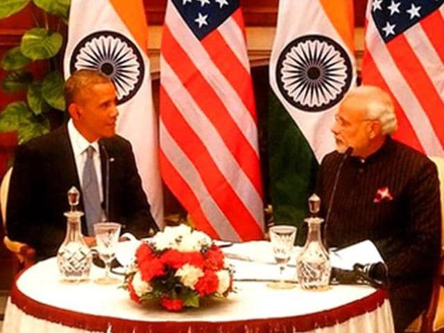 US President Barack Obama and Prime Minister Narendra Modi at Hyderabad House, in New Delhi. Tasked to investigate the Modi government specifically by US congress, the agency, US International Trade Commission, found much to praise and little to criticize.(Gurinder Osan/HT Photo)