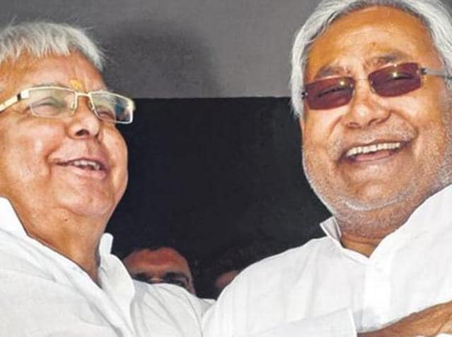RJD's Lalu Prasad (left) and Nitish Kumar's JD-U have formed a 'Grand Alliance' with Congress to fight assembly elections in Bihar.