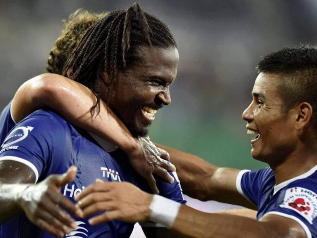 Chennaiyan FC player Bernard Mendy celebrating along with teammates after scoring a goal during the ISL match against FC Pune City in Chennai on October 24, 2015.