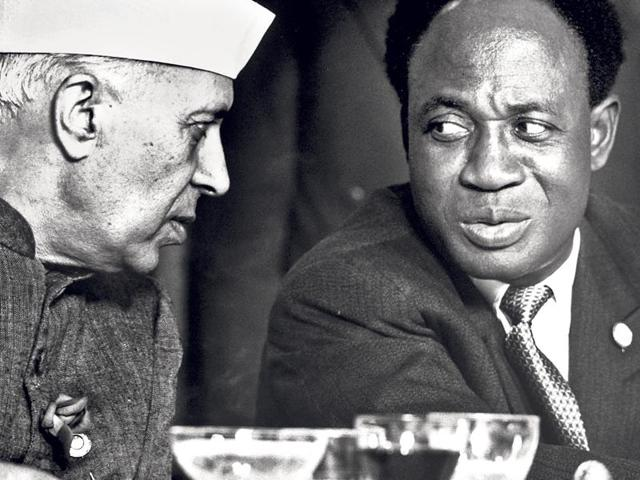 Jawaharlal Nehru, India's first prime minister, with Kwame Nkrumah, Ghana's first president, at the 1961 NAM conference in Belgrade.