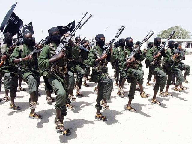 Newly trained al-Shabab fighters perform military exercise in the Lafofe area near Mogadishu.