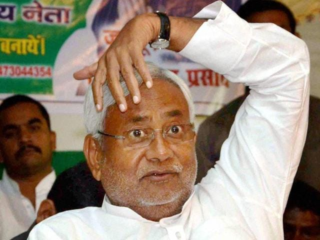 Bihar chief minister Nitish Kumar at an election rally in Patna on Saturday.