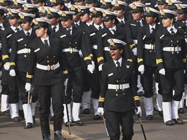 Indian Navy's women officers' contingent at Republic Day parade.