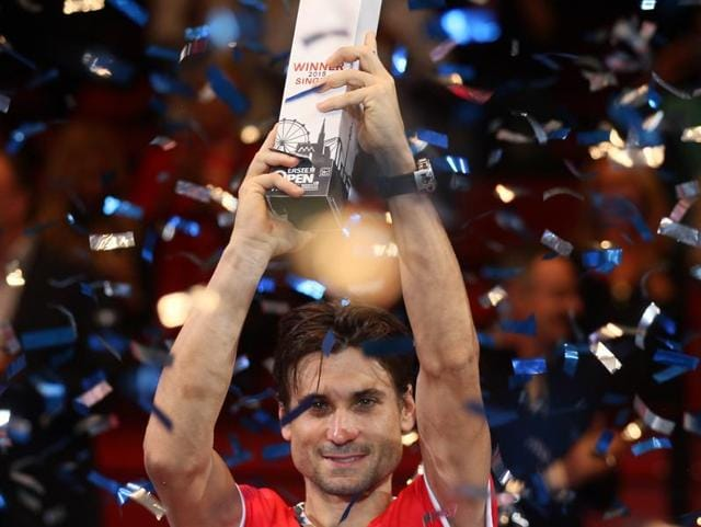 David Ferrer reacts after defeating Steve Johnson in the final of the Erste Bank Open in Vienna, on October 25, 2015.