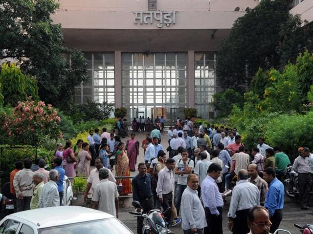 Employees rushed out of Satpura Bhavan as tremors were felt in Bhopal on Monday.