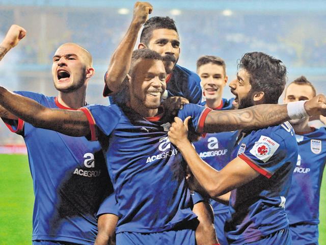 Frederic Piquionne of Mumbai City FC celebrates his goal during the ISL match against FC Goa at the DY Patil Stadium in Navi Mumbai on October 25, 2015.