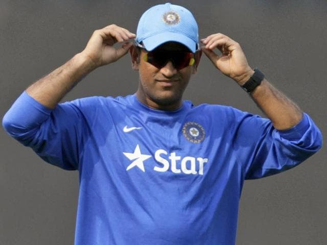 Indian cricket captain MS Dhoni during a practice session ahead of the fifth ODI against South Africa in Mumbai, on October 24, 2015.