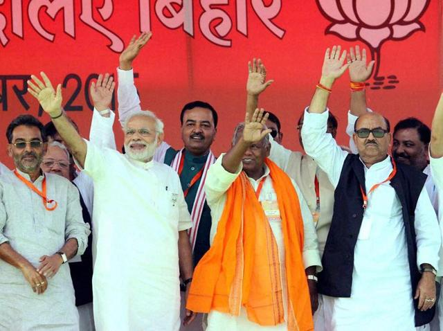 Prime Minister Narendra Modi during an election rally in Buxar.
