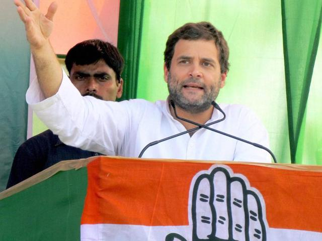 Congress Vice President Rahul Gandhi at an election rally in Areraj, Bihar on Monday.