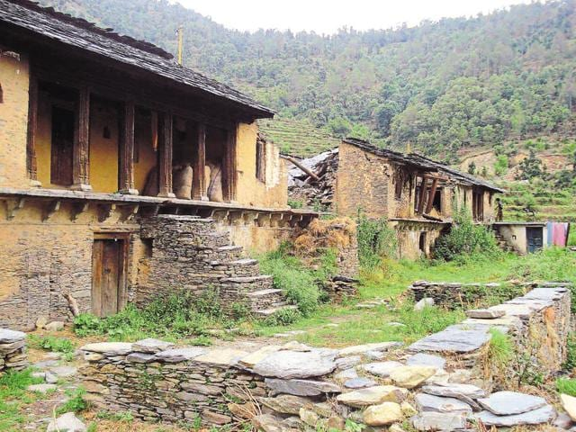 A village in Pauri district wears a deserted look.