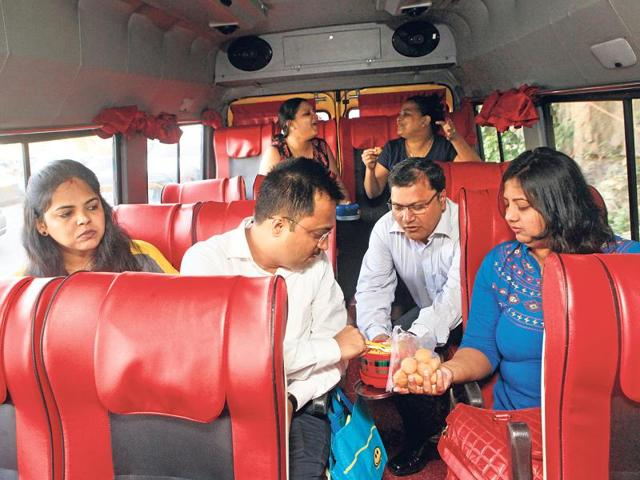 These six office-goers commute from Mira Road to Kalina daily via rBus. During rainy spells, they leave early and take turns to bring nashta for everyone. In addition to being punctual and comfortable, they say, their bus is wifi-enabled and costs just Rs 160 per round trip.