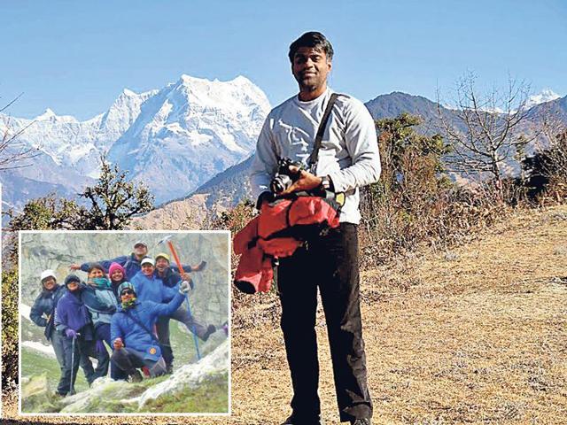 Bhaskar Thyagarajan (top), director, Great India Outdoor, left his media and advertising job to start an adventure travel start-up for corporates. (Inset) Trekking to Hampta Pass, Himachal Pradesh.