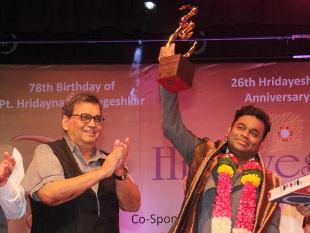 Grammy Award winner AR Rahman receives the Hridaynath Mangeshkar award from Shubhash Ghai during the Hridaynath Mangeshkar Awards ceremony at Dinanath Mageshkar Hall, Vile Parle, on Monday.