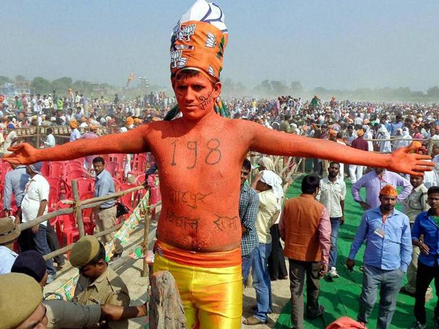 BJP supporters gather during Prime Minister Narendra Modi's election rally, at Hazipur near Patna, Bihar.