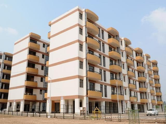 A view of the Chandigarh Housing Board (CHB) flats in Sector 63, Chandigarh,  on Monday.