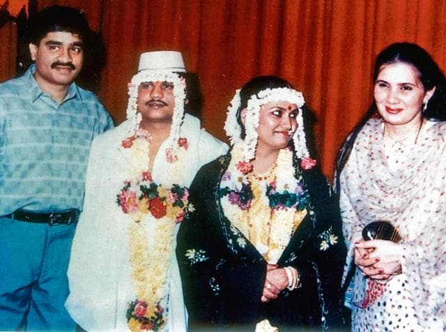 Chhota Rajan and his wife Sujata Nikhalje are seen with Dawood Ibrahim and his wife Mehjabeen (extreme right) during Rajan's wedding in Dubai in 1987.(HT FIle Photo)
