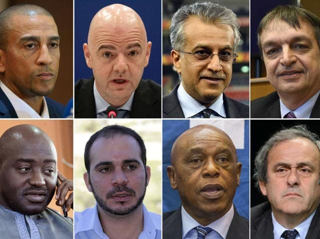 A combination photo of the eight official candidates to succeed Sepp Blatter as Fifa president.