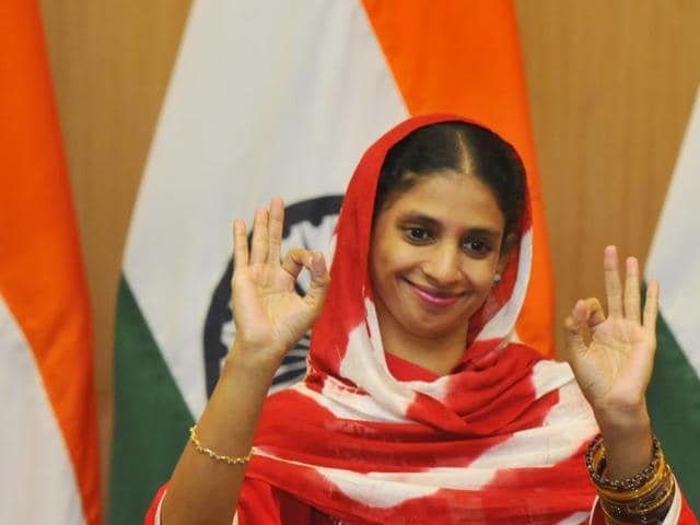 Geeta gestures during a press conference at the ministry of external affairs, in New Delhi.