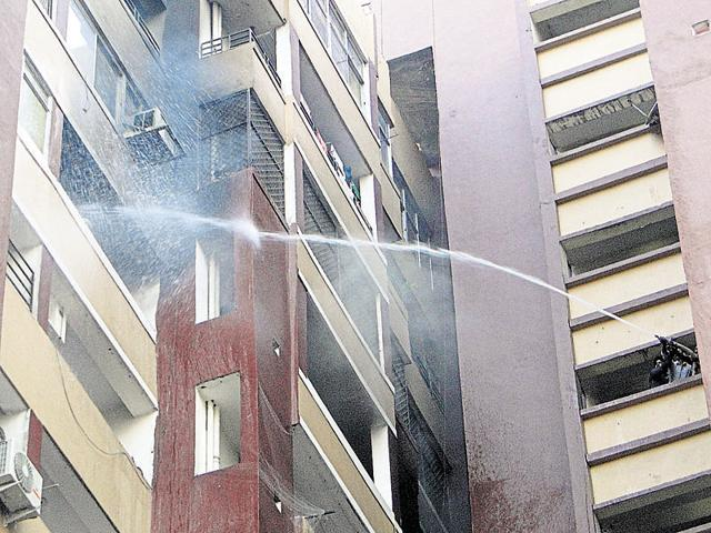 The fire broke out in one of the towers at Amrapali Village Apartments in Nyay Khand 2, Indirapuram on Monday.