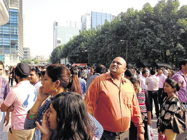 Office-goers at Cyber City in New Gurgaon rushed out after strong tremors jolted the city on Monday afternoon.