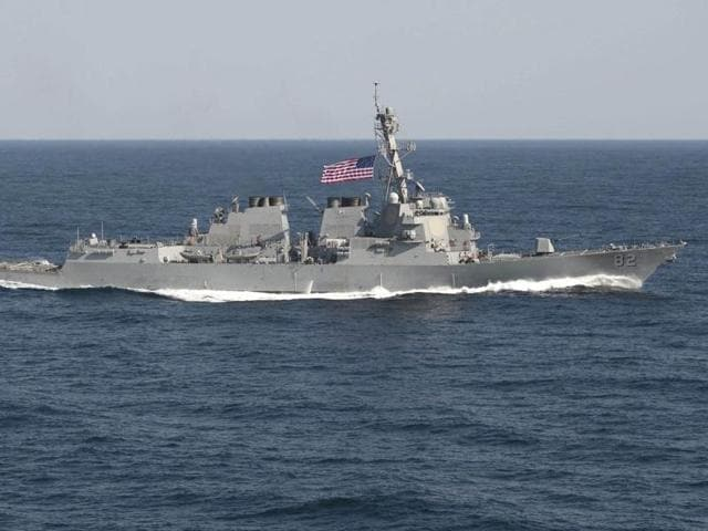 The US Navy guided-missile destroyer USS Lassen sails in the Pacific Ocean in a November 2009 photo provided by the US Navy. The US Navy sent a guided-missile destroyer within 12 nautical miles of artificial islands built by China in the South China Sea on October 27, 2015.