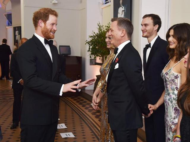 Prince Harry meets the cast and crew of the new James Bond 007 film Spectre before the world premiere at The Royal Albert Hall in London.