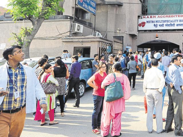Amity University students left their classes and came outdoors after the earthquake on Monday.