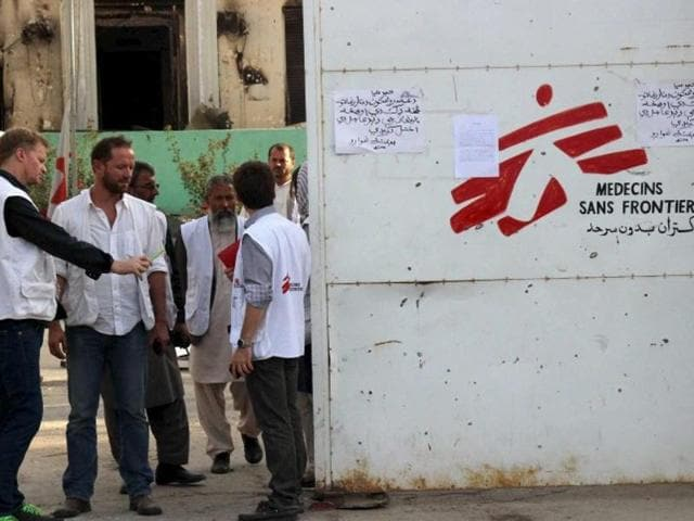 Christopher Stokes, the general director of MSF, stands at the gate of the organisation's hospital, after it was hit by a US airstrike, in Kunduz, Afghanistan.